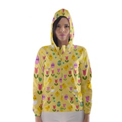 Easter - chick and tulips Hooded Wind Breaker (Women)