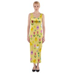 Easter - chick and tulips Fitted Maxi Dress
