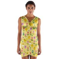 Easter - chick and tulips Wrap Front Bodycon Dress