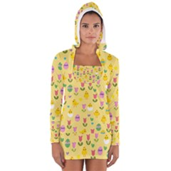 Easter - chick and tulips Women s Long Sleeve Hooded T-shirt