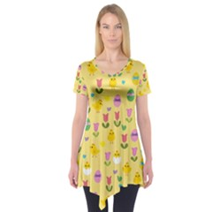 Easter   Chick And Tulips Short Sleeve Tunic