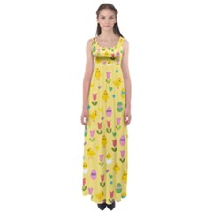 Easter - chick and tulips Empire Waist Maxi Dress