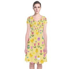 Easter - chick and tulips Short Sleeve Front Wrap Dress