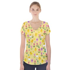 Easter - chick and tulips Short Sleeve Front Detail Top