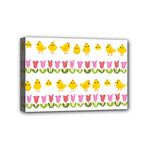 Easter - chick and tulips Mini Canvas 6  x 4