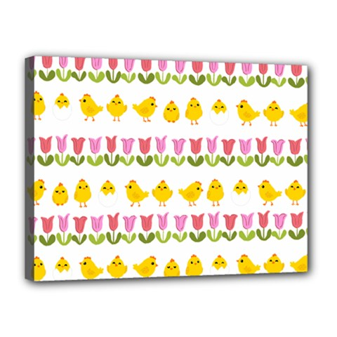 Easter - chick and tulips Canvas 16  x 12