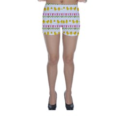 Easter - chick and tulips Skinny Shorts