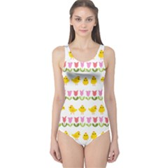 Easter - chick and tulips One Piece Swimsuit