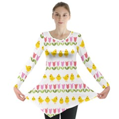 Easter - chick and tulips Long Sleeve Tunic