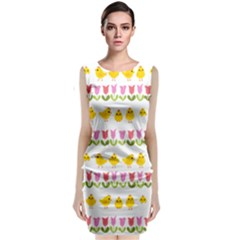 Easter - chick and tulips Classic Sleeveless Midi Dress