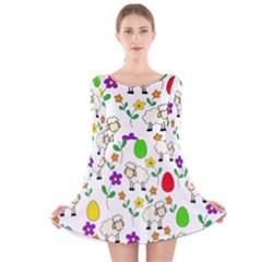 Easter lamb Long Sleeve Velvet Skater Dress