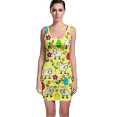 Easter lamb Sleeveless Bodycon Dress