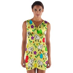 Easter lamb Wrap Front Bodycon Dress