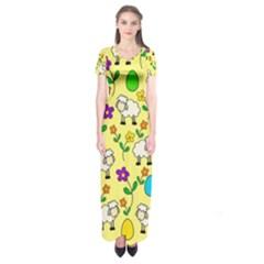 Easter lamb Short Sleeve Maxi Dress