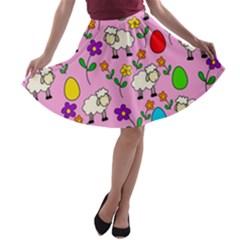 Easter lamb A-line Skater Skirt