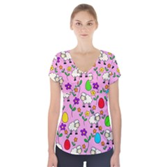 Easter lamb Short Sleeve Front Detail Top