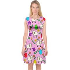 Easter lamb Capsleeve Midi Dress