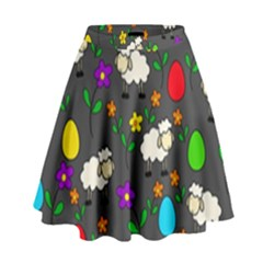 Easter lamb High Waist Skirt