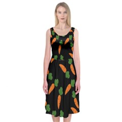 Carrot pattern Midi Sleeveless Dress