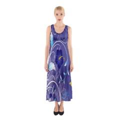 Flowers Butterflies Patterns Lines Purple Sleeveless Maxi Dress