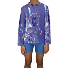 Flowers Butterflies Patterns Lines Purple Kids  Long Sleeve Swimwear
