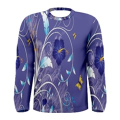 Flowers Butterflies Patterns Lines Purple Men s Long Sleeve Tee