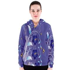 Flowers Butterflies Patterns Lines Purple Women s Zipper Hoodie