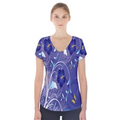 Flowers Butterflies Patterns Lines Purple Short Sleeve Front Detail Top