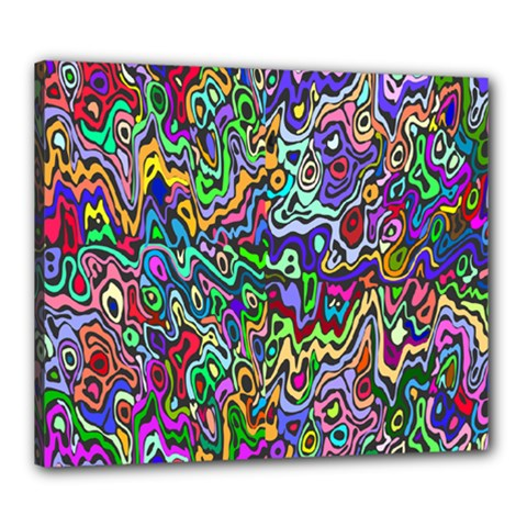 Colorful Abstract Paint Rainbow Canvas 24  x 20
