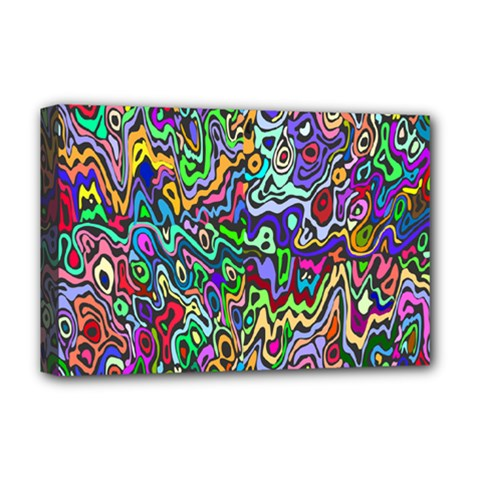 Colorful Abstract Paint Rainbow Deluxe Canvas 18  x 12