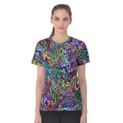 Colorful Abstract Paint Rainbow Women s Cotton Tee