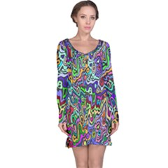 Colorful Abstract Paint Rainbow Long Sleeve Nightdress