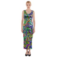 Colorful Abstract Paint Rainbow Fitted Maxi Dress