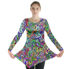 Colorful Abstract Paint Rainbow Long Sleeve Tunic