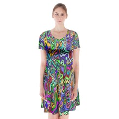 Colorful Abstract Paint Rainbow Short Sleeve V-neck Flare Dress
