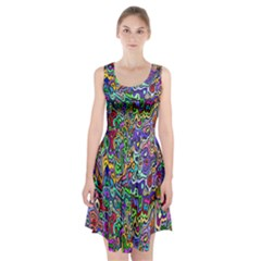 Colorful Abstract Paint Rainbow Racerback Midi Dress
