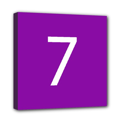 Number 7 Purple Mini Canvas 8  x 8
