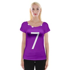 Number 7 Purple Women s Cap Sleeve Top