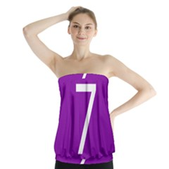 Number 7 Purple Strapless Top