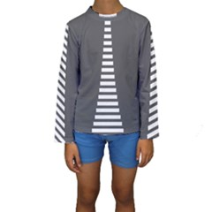 Minimalist Stairs White Grey Kids  Long Sleeve Swimwear