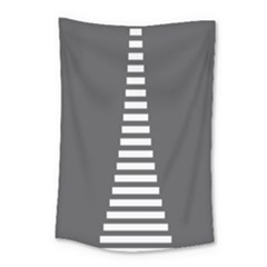 Minimalist Stairs White Grey Small Tapestry