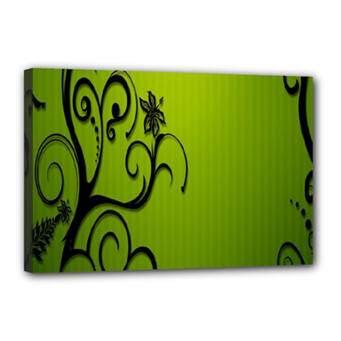 Illustration Wallpaper Barbusak Leaf Green Canvas 18  x 12