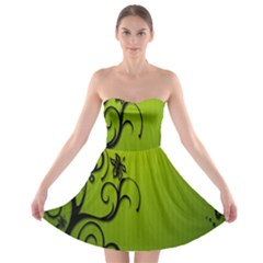 Illustration Wallpaper Barbusak Leaf Green Strapless Bra Top Dress