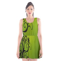 Illustration Wallpaper Barbusak Leaf Green Scoop Neck Skater Dress