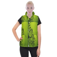 Illustration Wallpaper Barbusak Leaf Green Women s Button Up Puffer Vest