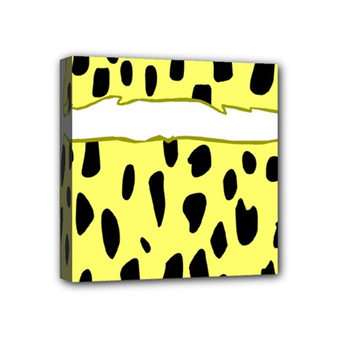 Leopard Polka Dot Yellow Black Mini Canvas 4  x 4