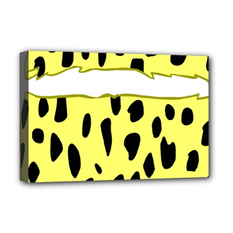 Leopard Polka Dot Yellow Black Deluxe Canvas 18  x 12
