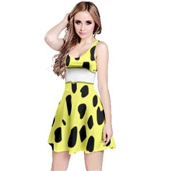 Leopard Polka Dot Yellow Black Reversible Sleeveless Dress