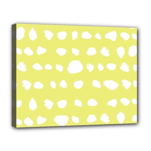 Polkadot White Yellow Canvas 14  x 11