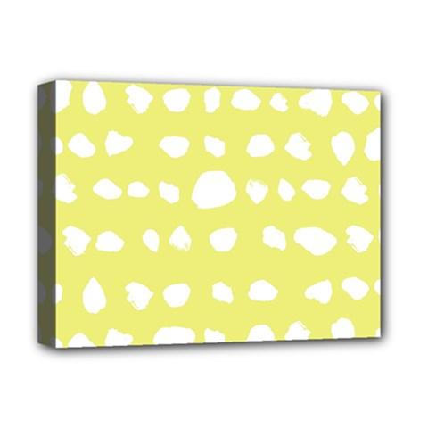 Polkadot White Yellow Deluxe Canvas 16  x 12